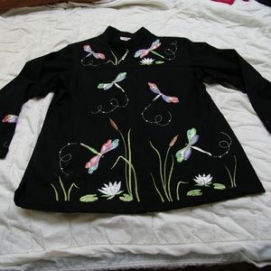 Quacker Factory Dragonfly Jacket M Black Embellish